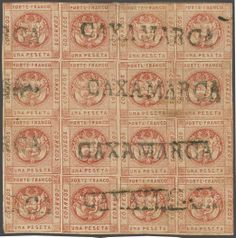Peru 1 peseta red, Stone III, a fine used block of 16 on whiter background, margins large (for this stamp) all round, many stamps showing the dam...