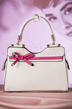 La Parisienne - 40s Audrey Bow Handbag in White and Pink
