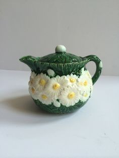 Vintage Haldon Group Small Teapot or Cream Pitcher - bright green with daisies by ShopTheHyphenate