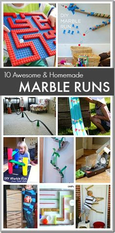 10 Homemade marble run ideas - So many FUN, clever kids activities for toddler, preschool, kindergarten, and elementary age kids. Great for STEM