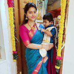 """""""Actress with her cute son"""" Indian Baby Girl, Indian Girls, Indian Sarees, Silk Sarees, Mom And Baby Outfits, Tamil Wedding, Saree Dress, Indian Celebrities, Half Saree"""