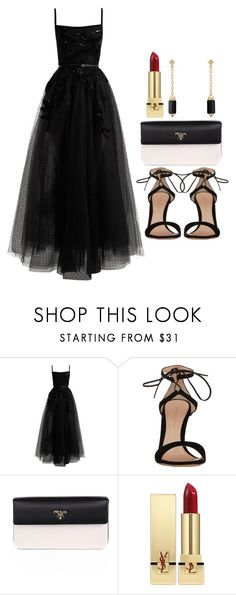 """Sin título #14369"" by vany-alvarado ❤ liked on Polyvore featuring Elie Saab, Gianvito Rossi, Prada, Yves Saint Laurent and David Yurman"