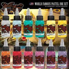 World Famous Ink - Pastel Ink set  #tattoo #tattooink #tattoosupply #tattoosuppliers #shoponline #worldfamousink #wheretobuy #wheretostart #best #quality #ink #getink #getinked #veganfriendly #vegan #tattooaddict