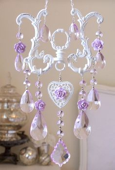 Lavender Crystal Suncatcher - would look beautiful in a girl's room