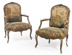 A pair of Louis XV carved and faux wood-painted fauteuils Mid-18th Century Sotheby's