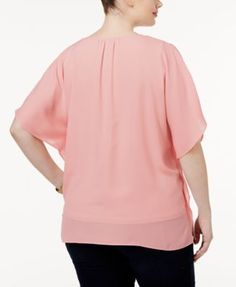 Inc International Concepts Plus Size Batwing-Sleeve Top, Only at Macy's - Black 2X
