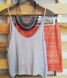 Grey Cropped tanktop with crochet skirt -