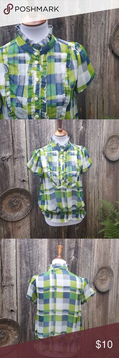 Bright Green Plaid Sheer Top Beautiful bright top. Buttons are kind of loose but it was that way when i purchased. One run in fabric which is pictured. MAKE AN OFFER. BUNDLE AND SAVE. Cotton Express Tops