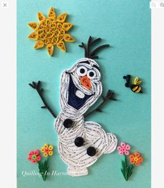 """Quilling """"Olaf- Do You Want To Build A Snowman"""" 5""""x7"""" (13cmx18cm). Hand crafted paper artwork for sale by Jan and Shannon Howard. For custom orders please contact us at quilling_in_harmony@hotmail.com"""