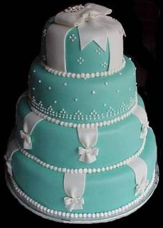 Does anyone know of any where I can find information on a tiffany blue themed wedding. I love the color and I want my cake to look just like the box but Im. Tiffany Wedding Cakes, Tiffany Blue Cakes, Themed Wedding Cakes, Tiffany Theme, Gorgeous Cakes, Pretty Cakes, Gateaux Cake, Wedding Cake Inspiration, Fancy Cakes