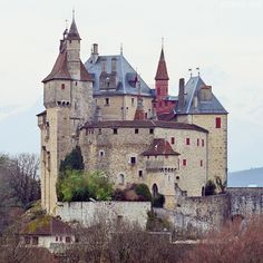 Menthon Saint Bernard castle above Annecy lake.