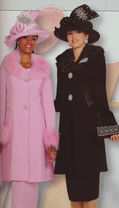 Colors: Pink Mist, Black (Elite 3pc PeachSkin With Fox Fur Collar and Cuffs Women's Suit)