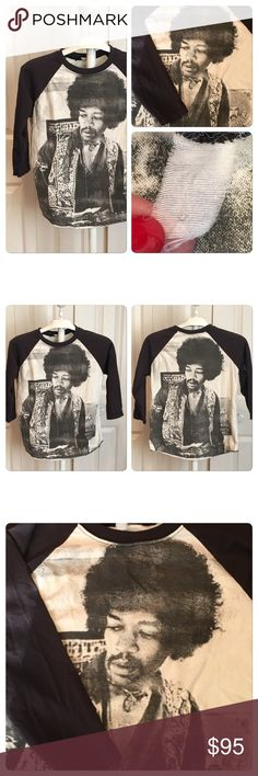 Rare Vtg Double Sided Jimi Hendrix raglan T Rare Vtg  Double Sided Jimi Hendrix raglan T Baseball babydoll style Hendrix double sided three-quarter sleeved Tee . 50-50 Polycotton . Label faded out best for size small . No holes stains rips tears some slight fading. Vintage Tops Tees - Long Sleeve