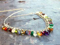 Multi Gemstone Necklace Statement Bib Necklace Sterling Silver Semi Precious Gemstone Jewelry