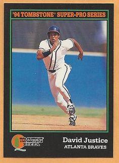 David Justice 1994 Tombstone Pizza #11 Atlanta Braves