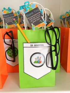 Party favors at a science birthday party! See more party planning ideas at Catch. Mad Science Party, Mad Scientist Party, Science For Kids, Party Favors, Party Bags, 10th Birthday Parties, Birthday Party Themes, Spy Party, 7th Birthday