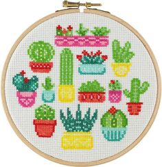 PRE-ORDER Cactus Cross Stitch Kit Modern Cross Stitch Cactus What's Decoration? Decoration may be the art of decorating the inside … Modern Cross Stitch, Cross Stitch Kits, Cross Stitch Designs, Cross Stitch Patterns, Cactus Embroidery, Wooden Embroidery Hoops, Pdf Patterns, Free Pattern, Cross Stitching