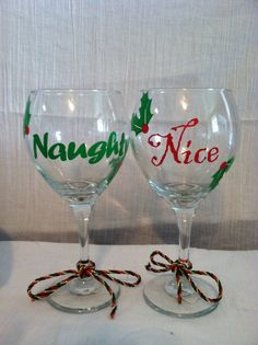 Naughty and nice wine glass set, Christmas wine glasses, perfect for Christmas gifts or parties. $18.00, via Etsy.