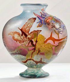 What a piece! Art Nouveau - Vase 'Passiflore' - Emile Gallé - 1900