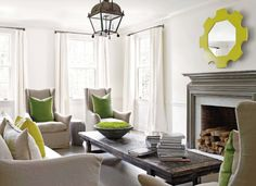 "Reminds  me of the ""Trapunto"" mirror, below. From South of Market.  Room design by Kay Douglass Interiors."