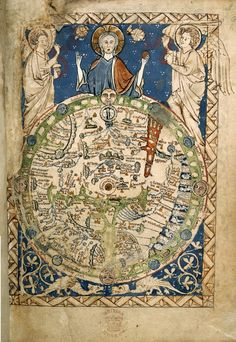 Geocentricite (terre-centre-univers)-Psalter World Map (mappa mundi), 1265 / This is one of the 'great' medieval world maps - La boite verte Medieval World, Medieval Art, Renaissance Art, Vintage Maps, Antique Maps, Antique World Map, British Library, World Map Art, Framed Maps