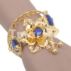 Fashion Costume Accessory Flower Shaped Belly Dance Bracelet with Ring Royalblue - pretty, delicate, colorful - could go well w/ the blue and gold necklace