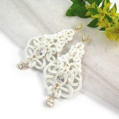 Ślub - biżuteria-Wiktoria! Kolczyki ślubne sutasz - śnieżna biel