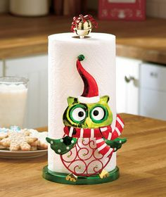 owl kitchen decor | Details about OWL Whimsical Holiday Christmas Kitchen Paper Towel ...