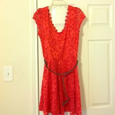 "Gianni bini dress Bright red/Orange dress from Dillard's. Great condition. All lace ""v cut"" back and scoop neck . Fits like a 8/10 Gianni Bini Dresses Mini"