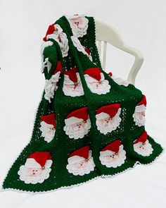 Christmas Santa Afghan Pattern  PB114 by Maggiescrochet on Etsy, $4.99