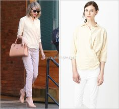 Leaving her apartment building | New York City, NY | April 10, 2014 Ray-Ban 'Wayfarer Liteforce Sunglasses' - $185.00 Worn with: Steven Alan shirt, Tod's bag, Joe's Jeans trousers and Prada heels View...