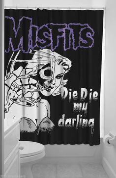 Sourpuss Misfits Die Die My Darling Shower Curtain Pinup Punk Psychobilly Tattoo #Sourpuss