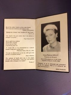 Funeral card sent by Princely Palace after death of HSH Princess Grace