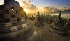 Sunrise at Borobudur temple, central Java, Indonesia.