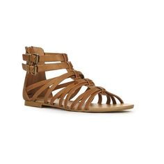 Justfab Flat Sandals Sereen ($40) ❤ liked on Polyvore featuring shoes, sandals, apparel & accessories, brown, flat sandals, brown flats, faux leather gladiator sandals, buckle sandals and gladiator flats