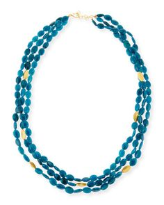 """Blue+Apatite+Multi-Strand+Necklace,+36""""L+by+Dina+Mackney+at+Neiman+Marcus."""