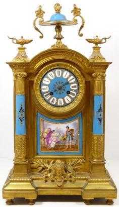 1a41b772252 MANTEL CLOCK BRONZE PORCELAIN SEVRES STYLE Relogio De Parede Antigo
