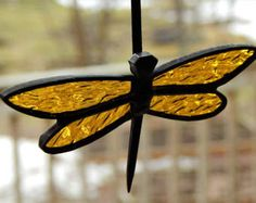 Stained Glass Bumble Bee Garden Stake / Pot by RedfordGlassStudio