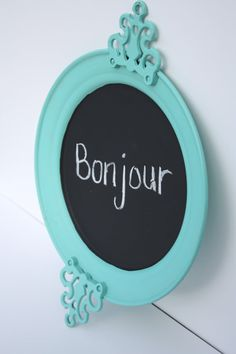 Shabby Cottage Chic Robins Egg Blue Chalkboard by SecondHandNews, $23.00