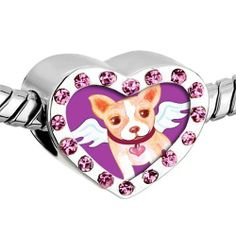 Pugster Pink Swarovski Crystal Chihuahua Dog From Heaven photo Heart Silver Plated Beads Fits Pandora Charm Chamilia Biagi Bracelet Pugster. $16.49. Weight (gram): 2.8. Color: Silver tone, light rose. Metal: Metal, crystal. Size (mm): 12.95*7.4*10.31