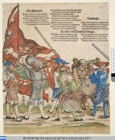 """""""Der Fendrich. Laytinger. Pfeyffer und Drummelschlager"""", aus """"Heereszug der Landsknechte"""", 1535/42, Erhard Schön (1491-1542)"""