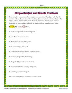 Here's a worksheet on simple subjects and predicates. Students will underline the simple subject and then circle the simple predicate. Worksheets For Grade 3, Verb Worksheets, Free Kindergarten Worksheets, Reading Worksheets, Printable Worksheets, Classroom Activities, Blends Worksheets, Subject And Predicate Exercises, Colors