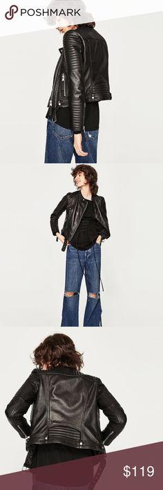 NWT Zara Leather Motorcycle Jacket 💯 Percent Sheep Leather! Mandarin Collar with Sleeve details. Zara Jackets & Coats