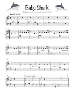 Baby Shark - Easy Piano By Traditional Easy Sheet Music, Easy Piano Sheet Music, Song Sheet, Reading Sheet Music, Music Sheets, Beginner Violin Sheet Music, Popular Piano Sheet Music, Christmas Piano Sheet Music, Trumpet Sheet Music