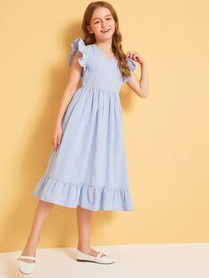 Girls Ruffle Armhole and Hem Plicated Dress | SHEIN UK