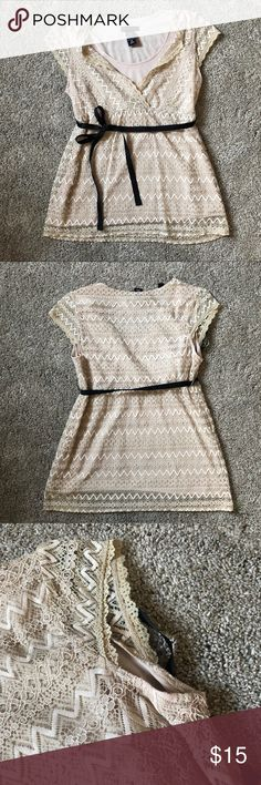 New York and Company Cream Patterned Blouse New York and Company Cream Patterned Blouse. Size Medium - Great Condition. Built in tank top. Brown ribbon belt - ties into a nice bow. New York & Company Tops Blouses