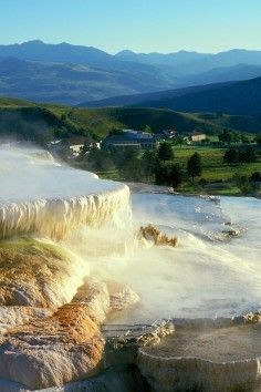 The Mammoth Hot Springs at Yellowstone National Park offers up a surreal landscape.