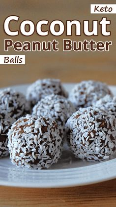 """""""Make this easy recipe for a bite-size treat, on-the-go snack or easy homemade gift."""" Keto Coconut Peanut Butter Balls – You must try this recipe. Coconut Peanut Butter, Peanut Butter Balls, Peanut Butter Fudge, Coconut Bars, Almond Butter, Almond Flour, Chocolate Fat Bombs, Keto Chocolate Chips, Low Carb Chocolate"""