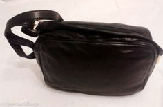 Talbots Purse Shoulder Bag day bag in Black supple Leather