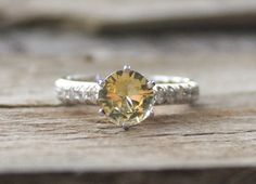 Classic Light Yellow Sapphire Diamond Engagement Ring in 14K White Gold on Etsy, $1,894.24 CAD